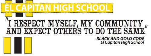 A banner stating the Black and Gold Code: I respect myself, my community, and expect others to do the same""